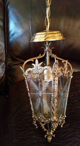 Vintage Solid Brass Etched Glass Hanging Lanterns Chandeliers