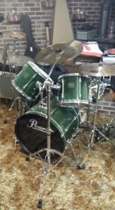 Pearl drum set, plus double bass pedals and cases