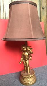 LAMPE ANTIQUE ANNÉES 1900 EN METAL DORÉ