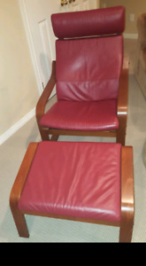 Red leather chair with foot stool