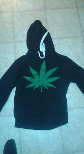 Black Hoodie with Weed Plant