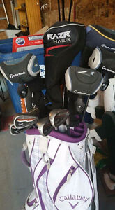 LADIES RIGHT HAND GOLF CLUBS AND  2 MEN'S LEFT