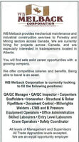 WB Melback Corp. is currently hiring for projects across Canada