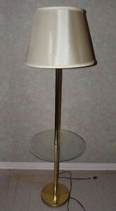 Vintage Brass Floor Lamp with Glass Tray Table