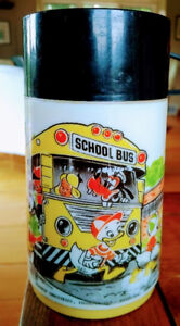 Vintage ALADDIN DISNEY Mickey Mouse School Bus Plastic THERMOS