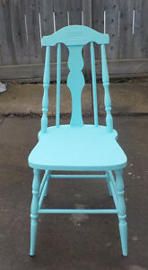 SHABBY CHIC ANTIQUE FARM CHAIR REDONE IN TURQUOISE BLUE