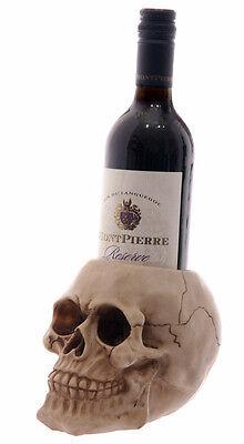 Neu+Totenkopf+Skull+Halloween+Flaschenhalter+Gothic+Weinflaschenhalter+Kopf+