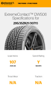 For sale: 4 used Continental Extreme Contact DWS06 295/35/21
