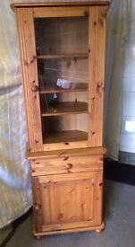 Wooden / Glass corner unit.
