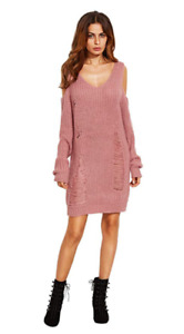 Women's Casual Long Sleeve  Ripped Sweater Dress