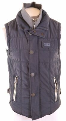 SUPERDRY Mens Padded Gilet Size 38 Medium Navy Blue Cotton  FN05
