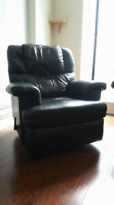 Leather Rocking Chair with leg rest