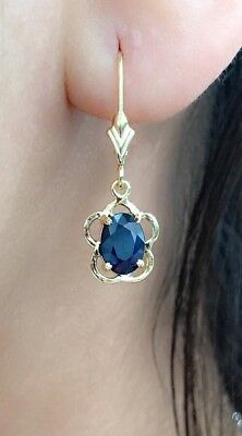 (14k Solid Yellow Gold Leverback One Stone Dangle Earrings, Natural Sapphire 2TCW)