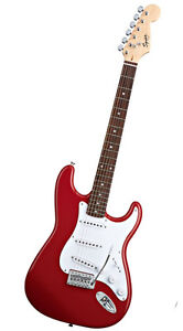 Fender Squier Fire Engine Red Strat HSS Guitar - Excellent