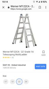 Werner MT-22CA - 22' Grade 1A Telescoping MultiLadder