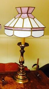 Vintage Stained Glass and Brass Table Lamp