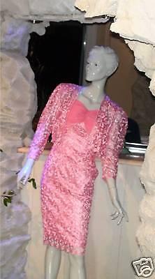 Abendkleid Ballkleid Kostüm rosa 2teilig Spitze 34 Party Disco Feier - Disco Ball Kostüm