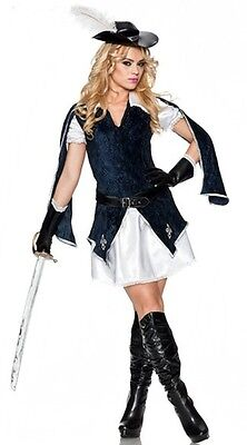 ALL FOR ONE Sexy Musketeer Lady Costume + Hat Glove Large XL 10 12 14 Muskateer](Muskateer Costume)