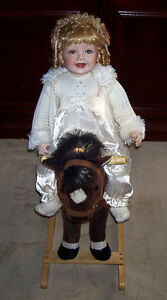 Porcelain Princess Style Doll and Spotted Pony Rocking Horse