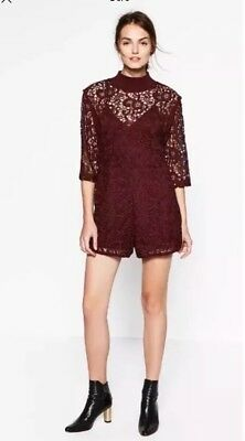 Zara Burgundy Guipure Lace Jumpsuit Size XL UK 14 BNWT  for sale  Shipping to United States