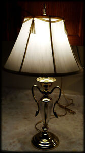 WORKING LAMP ~ Brass and Lead Glass Crystal