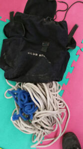 Rock climbing gear and harness and rope