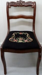 FREE DELIVERY Antique NEEDLEPOINT Slip Seat Chair Vintage