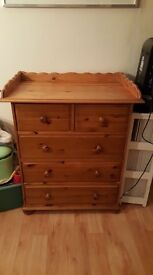 Chest of drawers with changing table top