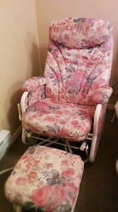 Cream and Pink Floray Glider Rocker and Glider Foot Stool