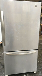 STAINLESS STEEL KENMORE BOTTOM AMOUNT FRIDGE FREEZER