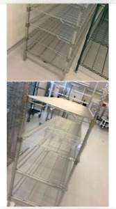 Stainless steel shelving.