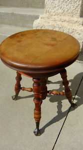 Antique Solid Wood Piano Stool Glass Ball Steel Claws Swivel Top