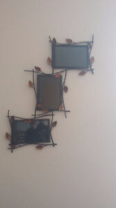 Picture frame with leaf design - holds three 4 x 6 photos