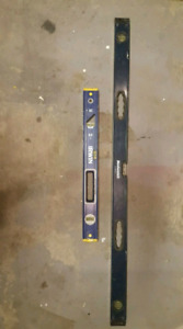 Irwin 2' level and a 4' Mastercraft level both for $30.