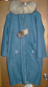 LADIES LONG WINTER COAT WITH HOOD HAND MADE NFLD. FOR XMAS