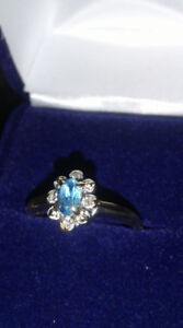 Blue Topaz Ring 10K size 7 4 singlecut Diamonds