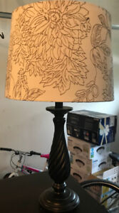 Lamp with white floral shade