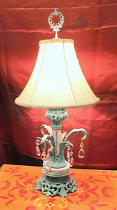 Lampe Francaise, faux finish effects, and crystals, silk shade West Island Greater Montréal image 1