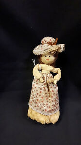 Corn Husk Doll With Hat And Apron