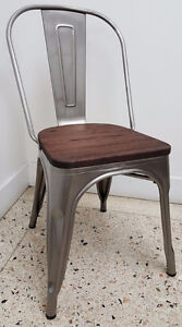 RESTAURANT TOLIX STYLE WOODEN SEAT METAL BAR STOOL DINING CHAIR