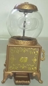 2007 Metal Jelly Belly Gold Jelly Bean Dispenser w/ Clear Glass