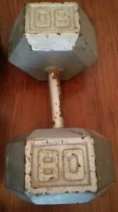 1 x 80 lbs IRON HEX DUMBBELL (single only) - $60, firm