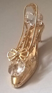 24K Gold Plated Dancing Shoe W/ Bow Swarovski Crystals