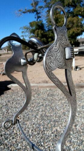 Vintage Engraved Sterling Silver Monel Diablo Mfg. Horse Show Bit