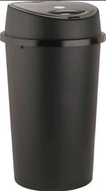 *** LOOK Black Plastic Touch Top Bin Dustbin Large Lid Rubbish Bin Ind