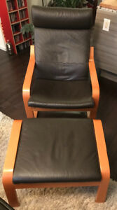 POANG leather chair and footrest  (ikea)