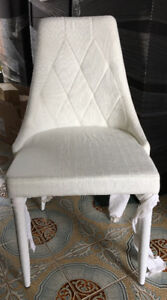 Tufted White or Dark Charcoal Linen Chairs