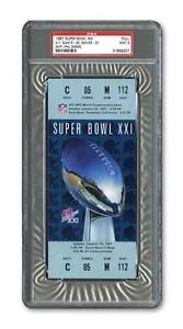 1987 SUPER BOWL XXI 21 FULL TICKET PSA 9! Mint GIANTS VS BRONCOS Highest Graded!