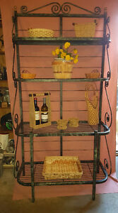 Stunningly Antiqued, Oversized Wrought Iron Bakers Rack