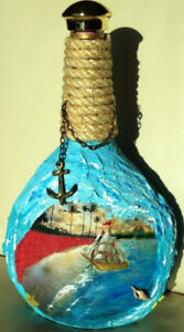 NEW Hand painted Decorative Bottle Marine/ Ship/ Beach/ Sea/ Oce